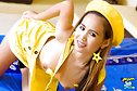 Beer stripping dungarees in yellow hat and high heels