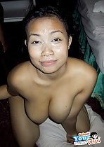 Seri kneeling naked cum over her face big breasts squeezed together