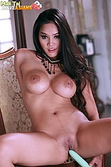 Mali Tai Masturbating Nude On Chair Big Breasts Long Hair Vibrator Pressed To Her Shaved Pussy