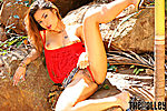 Amara Ranipas Lying On Rocks Pulling Panties Aside Revealing Pussy