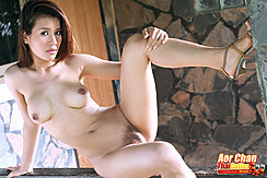 Aor Chan Seated Nude Knee Raised Pussy Hair