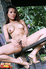 Sitting Naked On Fence Legs Open Spreading Her Pussy In High Heels