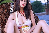 Breasty Beauty Natt Chanapa Strips Outdoors In High Heels