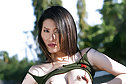 Breasty soldier Sophia Chui strips uniform and spreads her legs