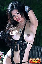 Meena Yen Pulling Top Aside Exposing Her Breasts