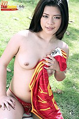 Ivy Sitting On Ball Topless Holding Football Shirt