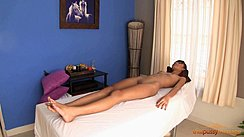 Skinny Phueng Lying On Massage Table Nude Shaved Pussy Bare Feet